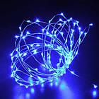 Гирлянда нить светодиодная Капли Росы 100 LED, Голубая, проволока, на батарейках, 10м., фото 3