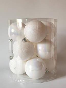 Новогодний декор. Ёлочные шары 8 см, белые. 6 шт