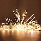 Гирлянда нить светодиодная Капли Росы 50 LED, Золотая (Желтая), проволока, на батарейках, 5м., фото 9