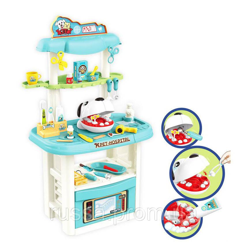 Лікар 8371 стоматолог-ветеринар, стіл, лоток, мед. інструменти, свет, на батарейках, в коробке 38,5-55-18 см