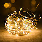 Гирлянда нить светодиодная Капли Росы 20 LED, Золотая (Желтая), проволока, на батарейках, 2м., фото 2