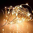 Гирлянда нить светодиодная Капли Росы 20 LED, Золотая (Желтая), проволока, на батарейках, 2м., фото 4