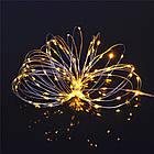 Гирлянда нить светодиодная Капли Росы 20 LED, Золотая (Желтая), проволока, на батарейках, 2м., фото 7