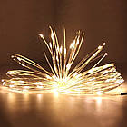 Гирлянда нить светодиодная Капли Росы 20 LED, Золотая (Желтая), проволока, на батарейках, 2м., фото 9