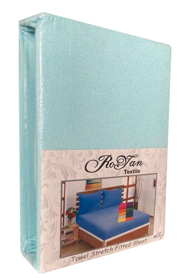 Махровый комплект на резинке Royan в силиконовой упаковке Небесно голубой