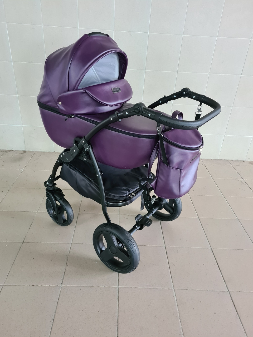 Детская коляска 2 в 1 Saturn Len Classik (Сатурн Лен Классик) Victoria Gold эко кожа фиолет
