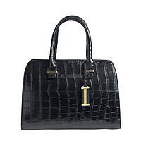 Брендовая средняя женская сумка черного цвета