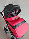 Детская коляска 2 в 1 Saturn Len Classik (Сатурн Лен Классик) Victoria Gold эко кожа красная, фото 3