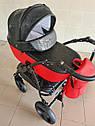 Детская коляска 2 в 1 Saturn Len Classik (Сатурн Лен Классик) Victoria Gold эко кожа красная, фото 2