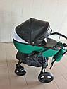 Детская коляска 2 в 1 Saturn Len Classik (Сатурн Лен Классик) Victoria Gold эко кожа зеленый, фото 3