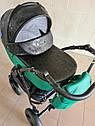 Детская коляска 2 в 1 Saturn Len Classik (Сатурн Лен Классик) Victoria Gold эко кожа зеленый, фото 2