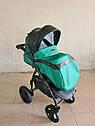 Детская коляска 2 в 1 Saturn Len Classik (Сатурн Лен Классик) Victoria Gold эко кожа зеленый, фото 4