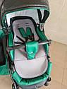 Детская коляска 2 в 1 Saturn Len Classik (Сатурн Лен Классик) Victoria Gold эко кожа зеленый, фото 6