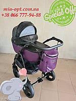 Детская коляска 2 в 1 Peppy Classik эко кожа фиолет_2