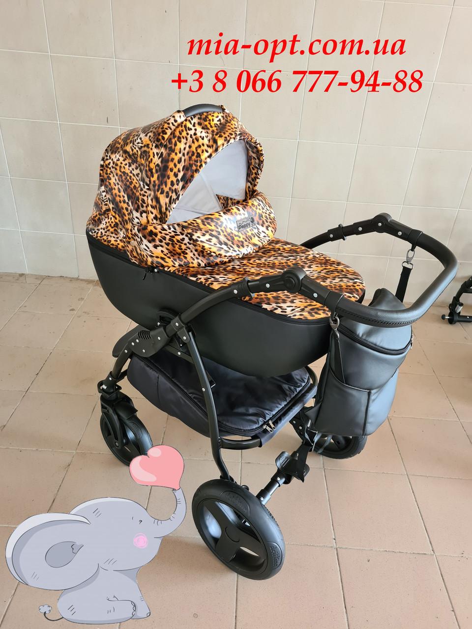 Детская коляска 2 в 1 Peppy Classik эко кожа  эко кожа леопард