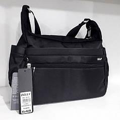 Cумка через плечо женская черная стильная с двумя карманами на молнии Dolly 648