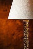 Настольный светильник на деревянной резной основе , фото 3