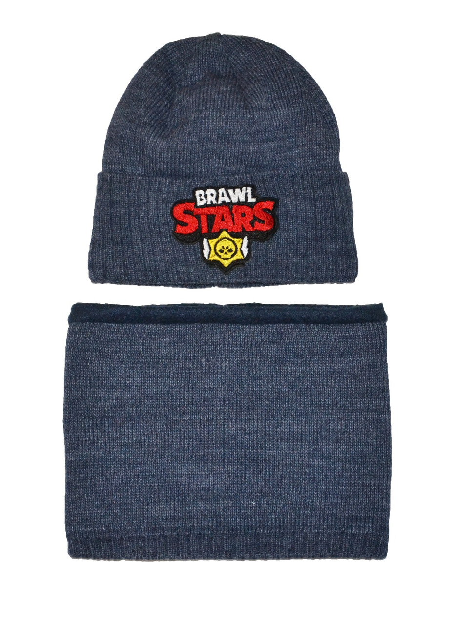 Комплект (шапка, шарф-снуд) на флисе мальчику Brawl Stars серо-синий