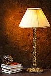 Настольный светильник на деревянной резной основе , фото 2