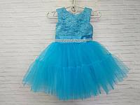 Детское нарядное платье для девочки с двойным фатином 1,5 - 2 года, голубого цвета, фото 1