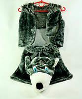 """Костюм детский карнавальный """"Волк"""" шорты, жилетка + шапка, набор из 3-х позиций, костюм серый волк"""