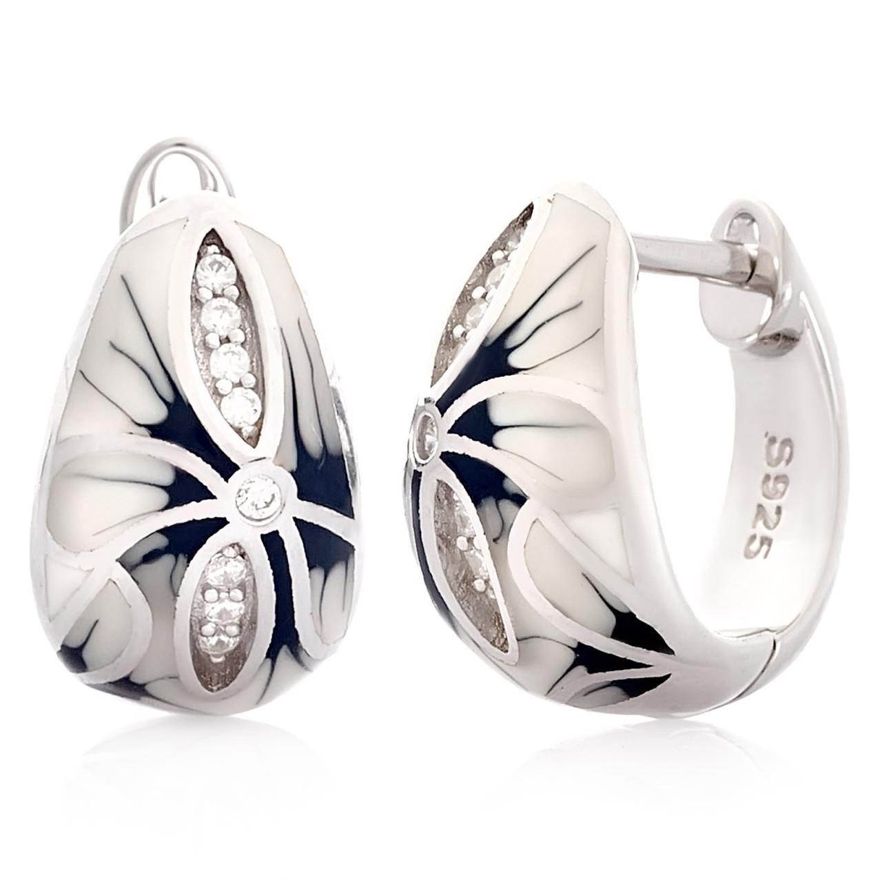 Срібні сережки з емаллю