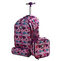 """Набор: детский тканевый чемодан-рюкзак на колесах + термо-сумка + пенал """"Love"""" 520496"""