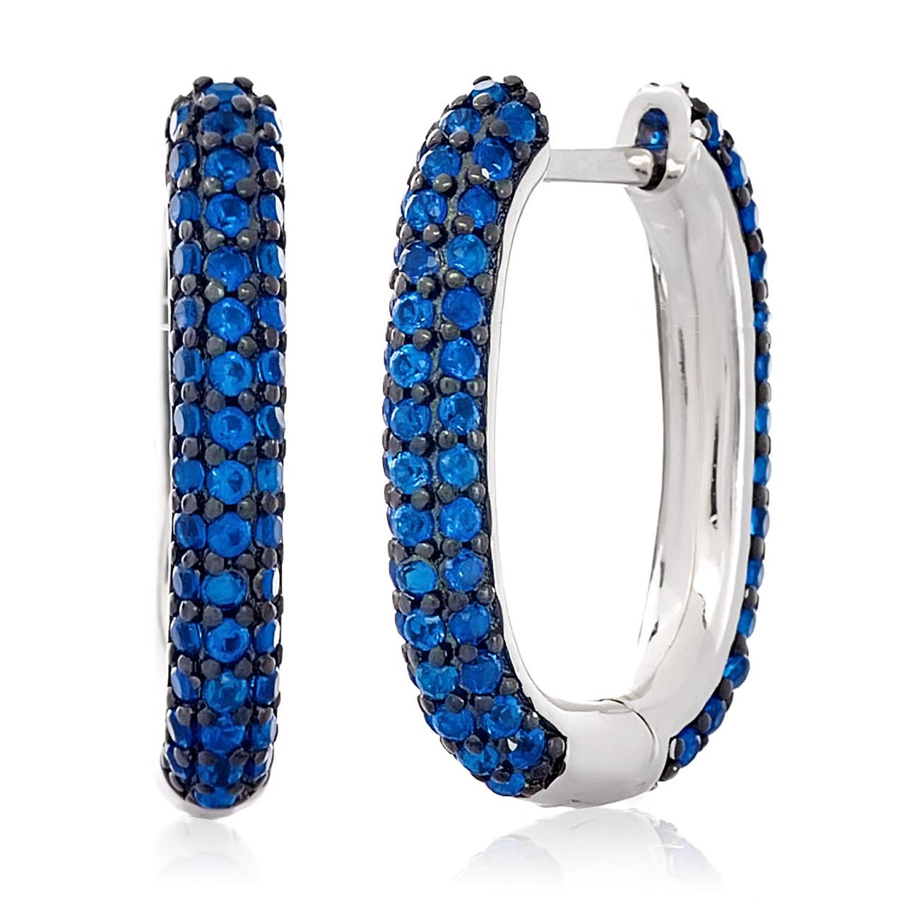 Серебряные серьги с цирконом синим