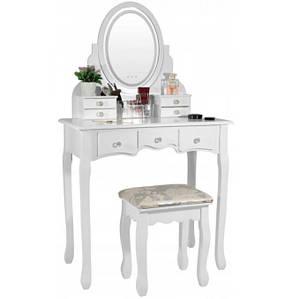 Туалетний столик Alozaina дзеркало кругле з 4 маленькими і 3 великим ящиками + м'який стілець