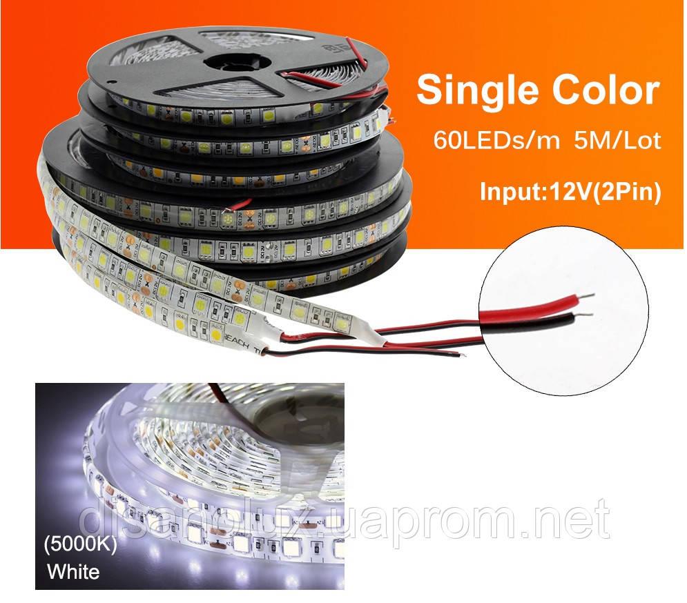 Светодиодная  LED лента  SMD 5050 60Led /м 14.4W/м  белый  холодный 12V  IP20 5м
