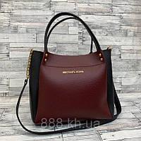 Женская сумка мини - шоппер Michael Kors (в стиле Майкл Корс) (черный/бордо), фото 1