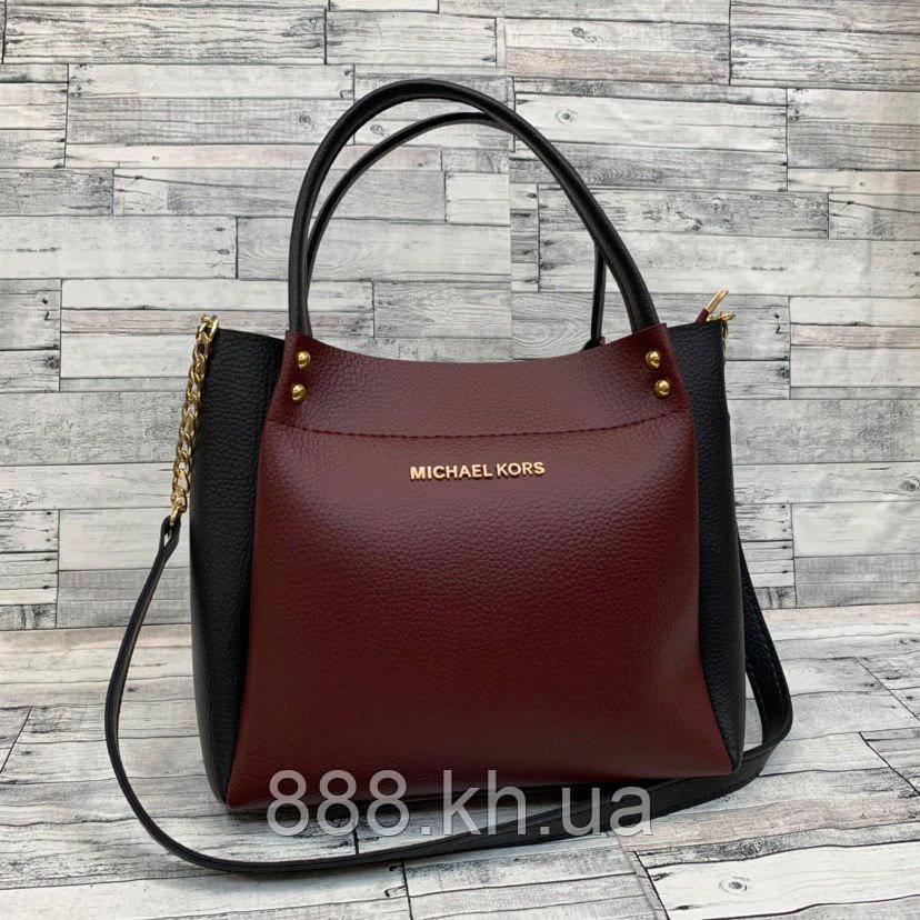Женская сумка мини - шоппер Michael Kors (в стиле Майкл Корс) (черный/бордо)