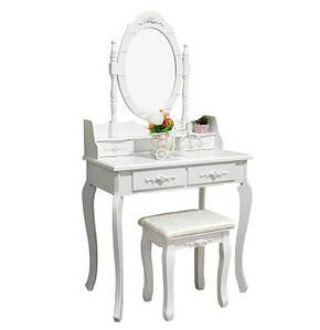 Туалетний столик з дзеркалом Альбонс + м'який стілець, колір білий