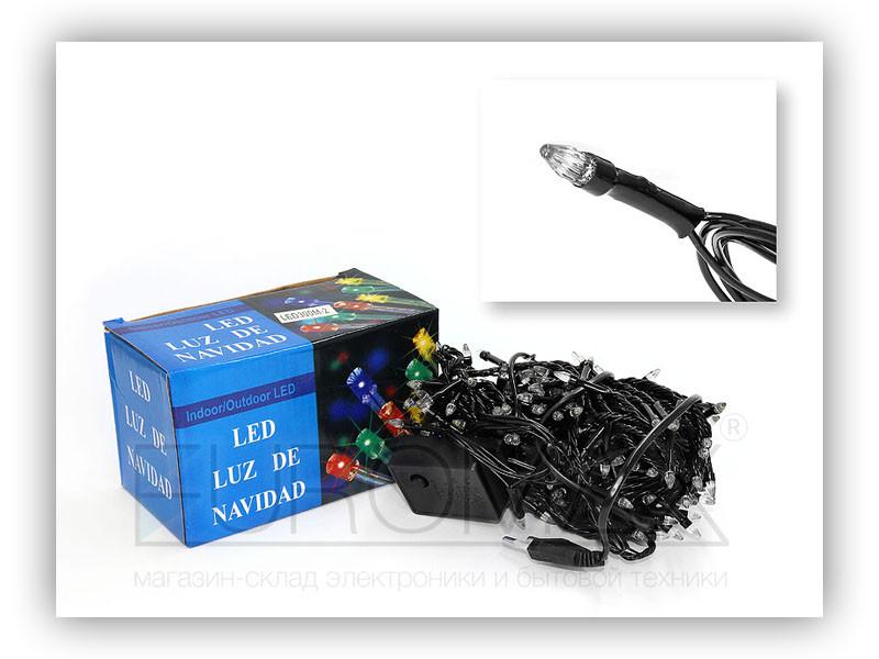 Гирлянда черный провод прозрачная коническая лампа 100LED (микс) 100шт LED100M-2