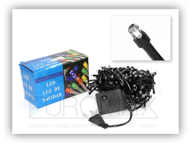 Гирлянда черный провод лампа Рубинка 200LED (синий) 80шт LED200B-7