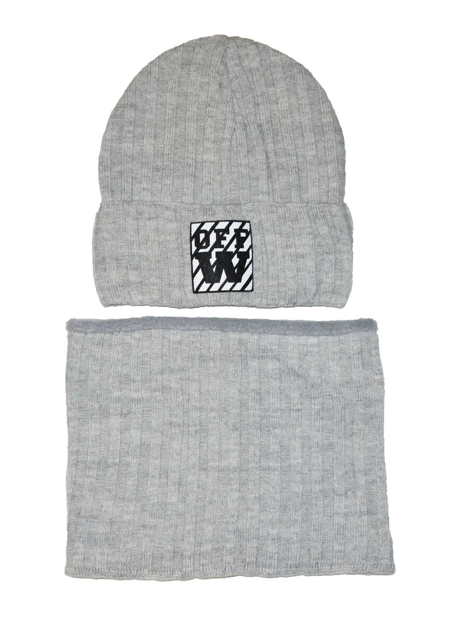 Шапка и снуд на зиму для мальчика с логотипом 52-54 см