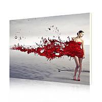 """Картина по номерам Lesko DIY RA3237 """"Девушка в красном платье"""" набор для творчества на холсте 40-50см"""