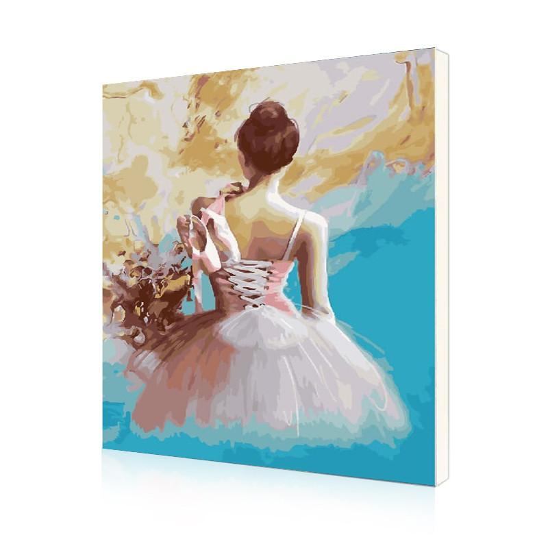 """Картина по номерам Lesko DIY RSB8361 """"Девочка с пуантами"""" набор для творчества на холсте 40-50см рисование"""