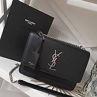Модная кожаная женская сумка на цепочке Yves Saint Laurent Ив Сен Лоран YSL.