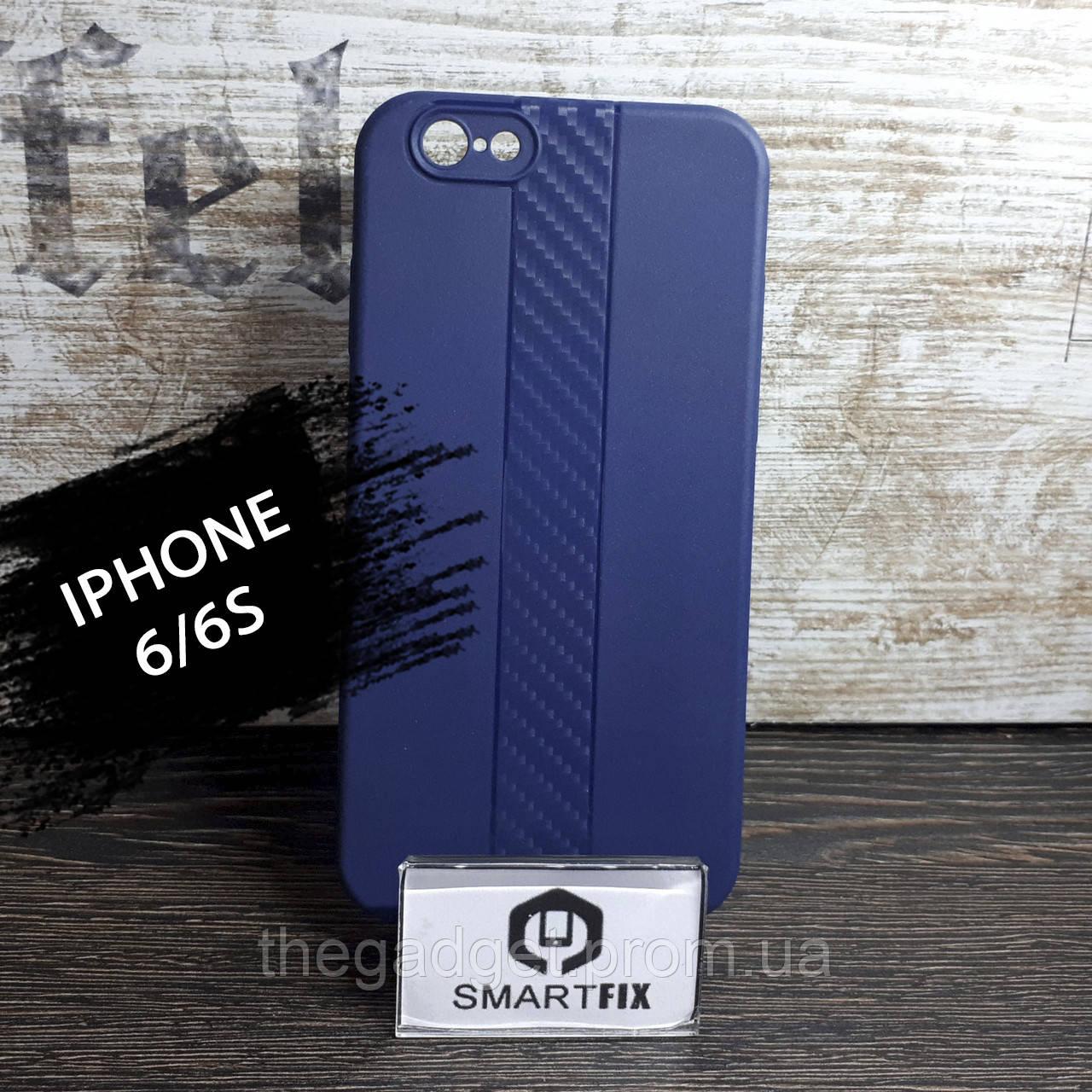 Силиконовый чехол для iPhone 6/6S со вставкой Карбона