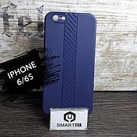 Силиконовый чехол для iPhone 6/6S со вставкой Карбона, фото 1
