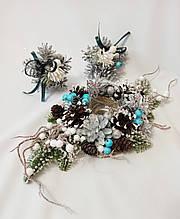 Новогодний декор, набор украшений, подсвечник из натуральных шишек и игрушки на ёлку