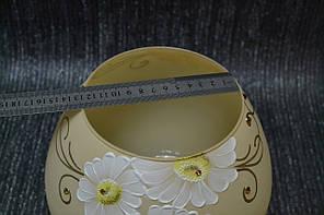 Ваза стекло скло желтая с белыми ромашками, фото 2