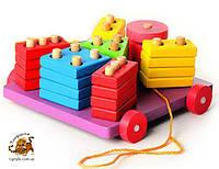 Геометрика каталка считалочка - деревянная развивающая игрушка