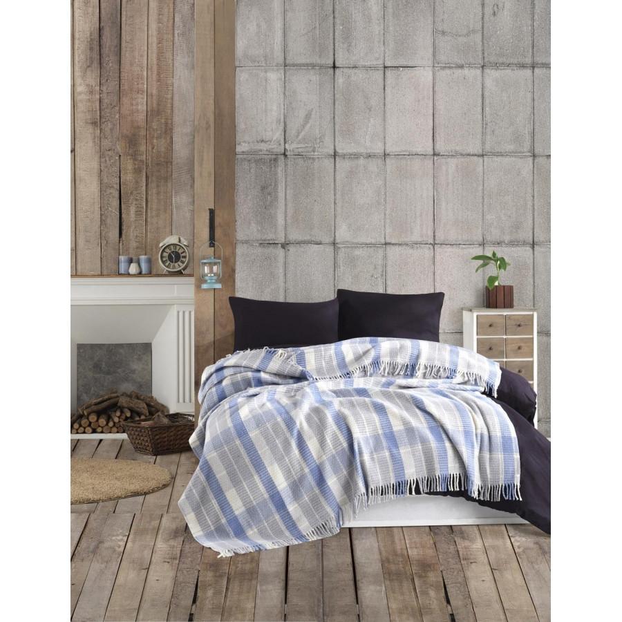 Плед Eponj Home - Ekose 150*220 Mavi-gri голубой-серый