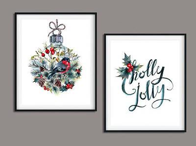 Набор плакатов на стену Holly Jolly плакат формат А4