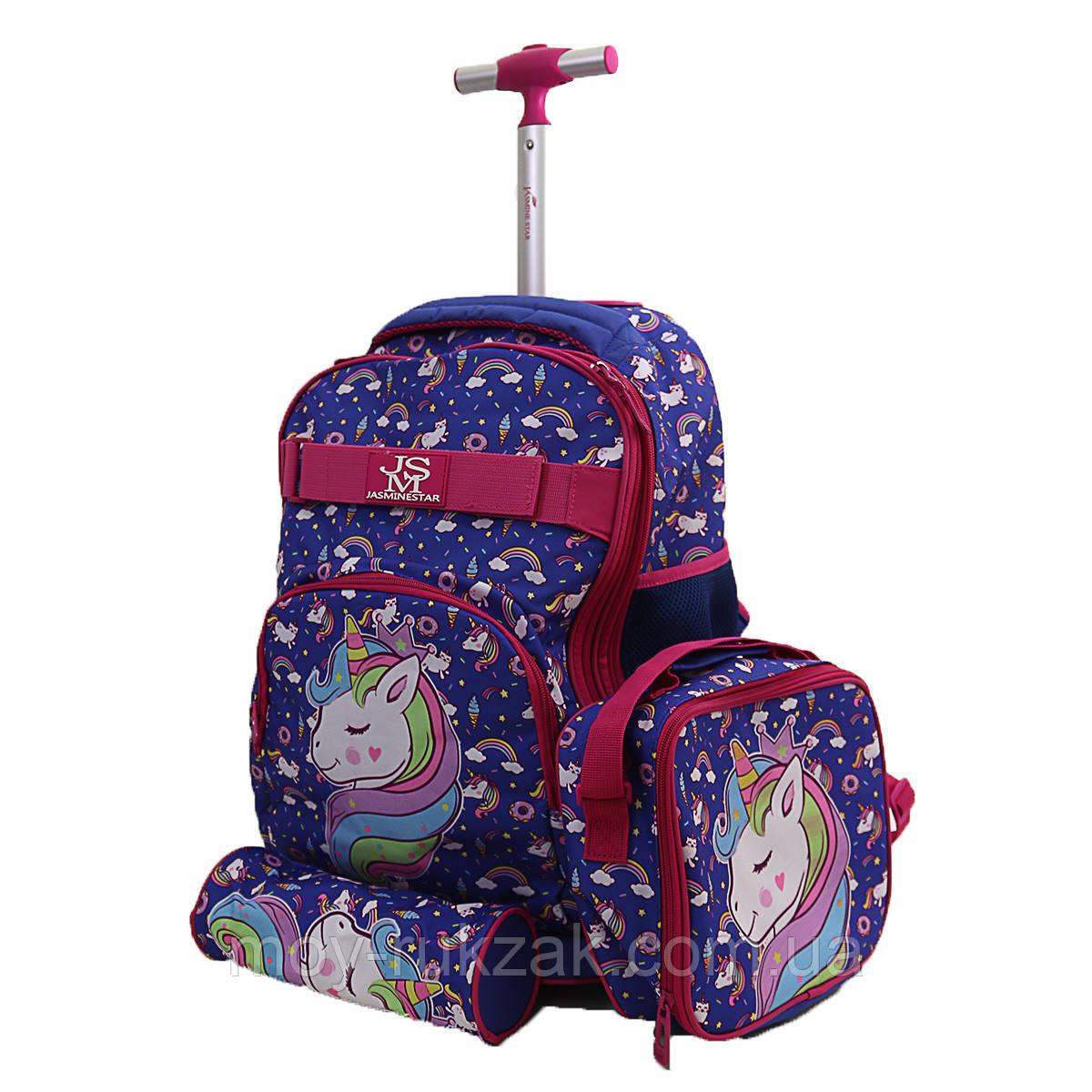 "Набор чемодан - рюкзак детский на колесах + термо-сумка + пенал ""Unicorn"""
