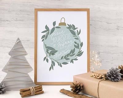 Новогодний плакат Merry Little Christmas формат А3