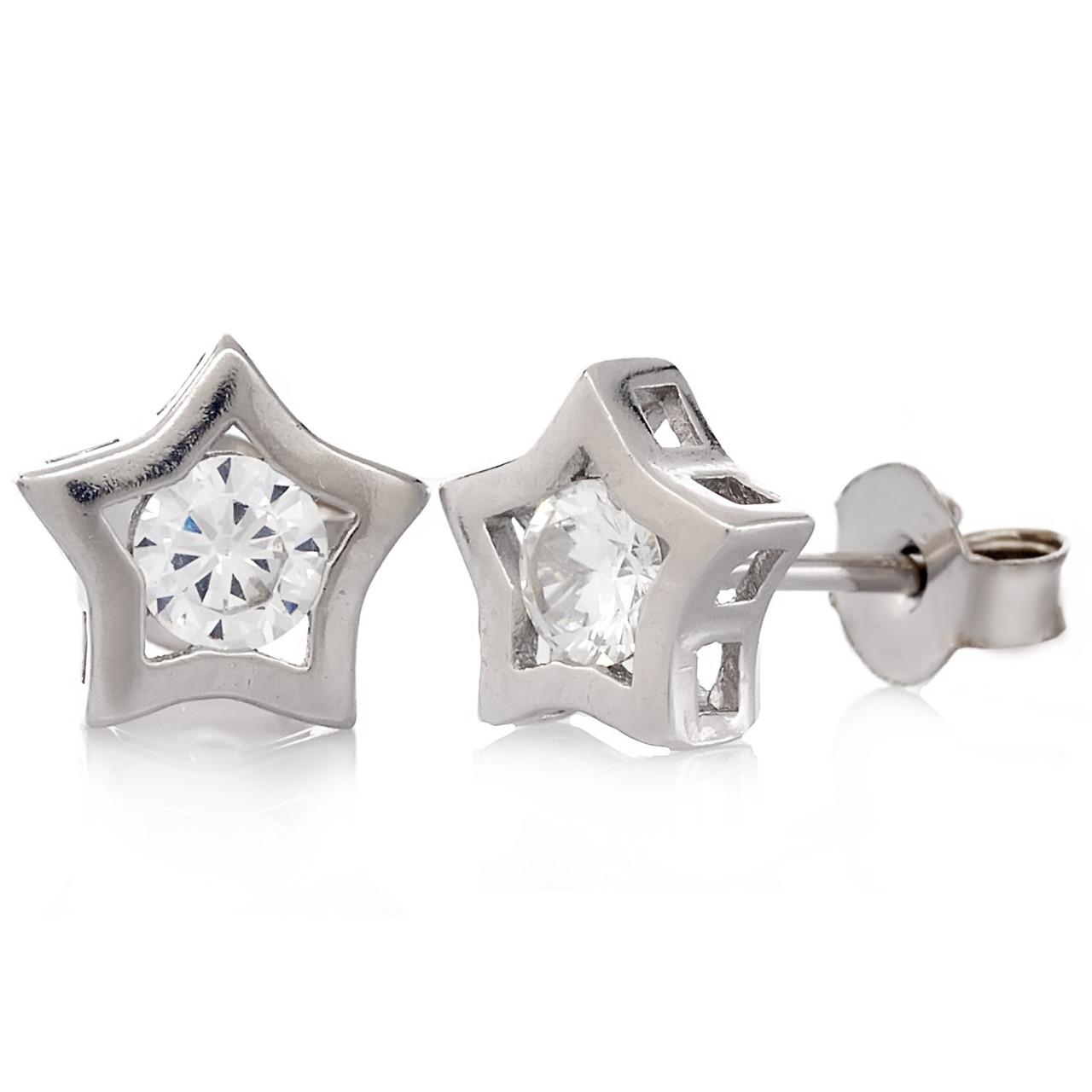Серебряные серьги с цирконием