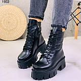 Женские ботинки ЗИМА черные на шнуровке натуральная кожа, фото 4